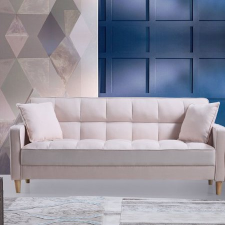 Modern Linen Fabric Tufted Small Space Living Room Sofa Couch (Beige)