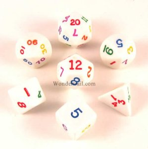 Rainbow Polyhedral Dice 7 Piece Set Multi-Colored