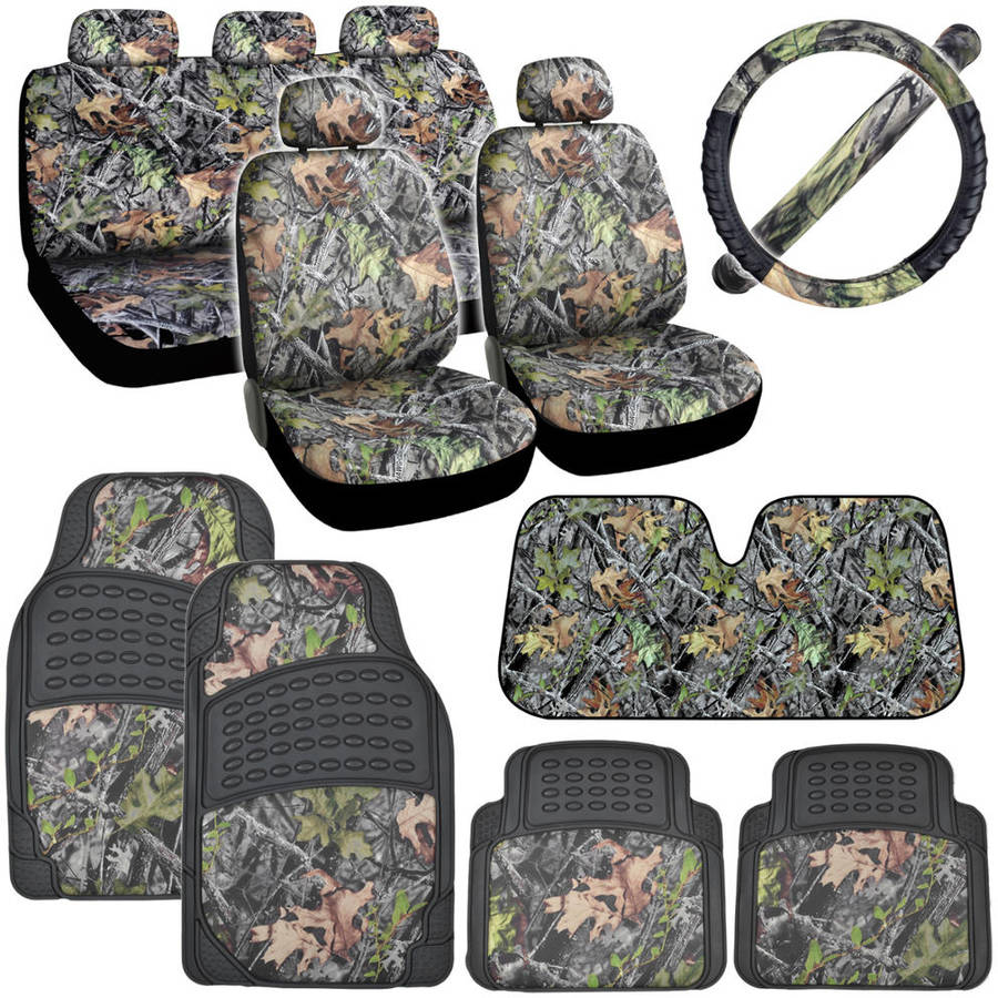 BDK Hawg Camouflage Car Seat Covers with Floor Mats, Steering Wheel Cover and Auto Shade Full Set