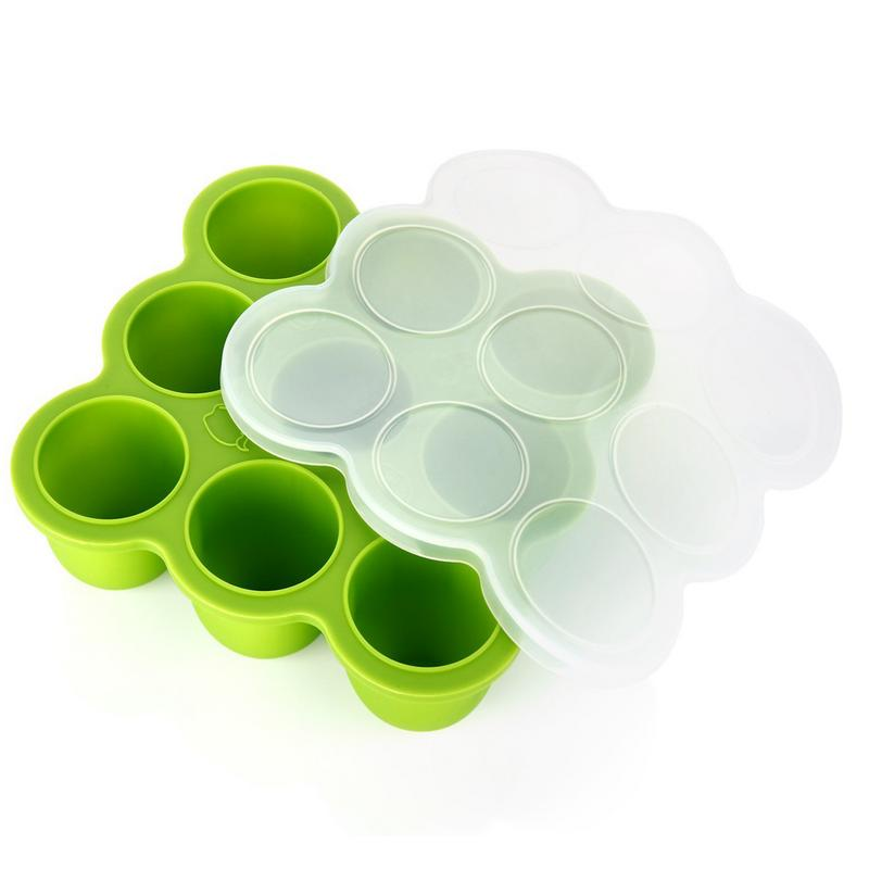 Silicone resin clip, homemade baby food, frozen silicon storage container tray, green frozen baby food, baby food storage GVDV / food storage / ice Trays / reefer container