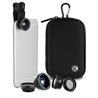 camkix deluxe universal 5in1 camera lens kit for smartphone, tablet and laptop - fish eye, 2in1 macro and wide angle, cpl and 2x tele lens, universal clip, case with carabiner and cleaning cloth