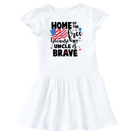Image of Home of The Free Because My Uncle is Brave with Flag Toddler Dress