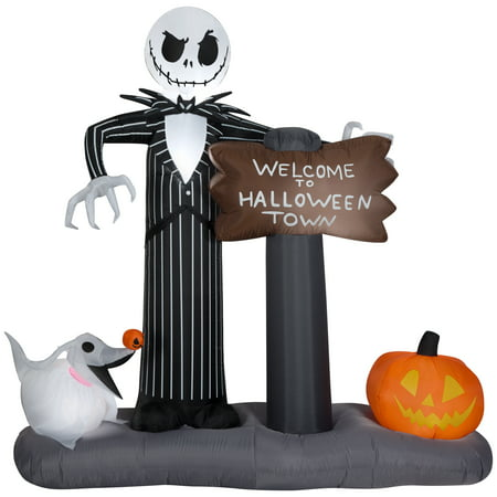 Gemmy Industries Yard Inflatables Nightmare Before Christmas Halloween Town Scene, 6 ft