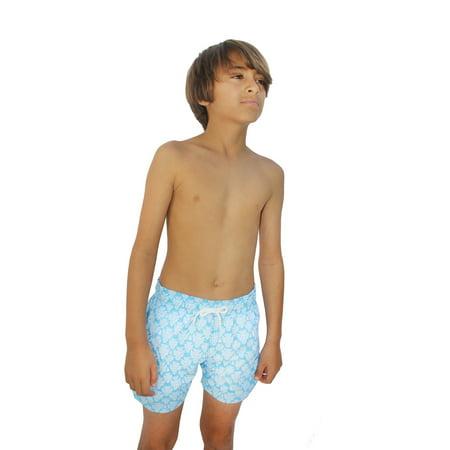 Azul Suit - Azul Little Boys Light Blue African Mask Drawstring Tie Swimwear Shorts