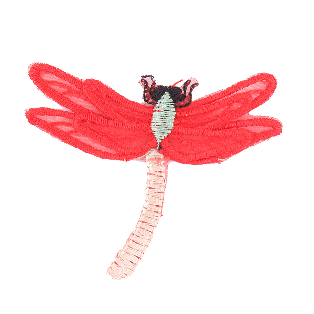 Unique Bargains Home Organza Dragonfly Design Embroidered DIY Clothes Decor Lace Applique Red