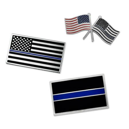 PinMart's Thin Blue Line American Flag Police Awareness Enamel Lapel Pin Set](Blue Puzzle Piece Lapel Pin)