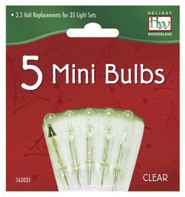 Xmas Lights repl. Bulb, For 35, 70 & 140-light Sets, 5 PK., Noma, 1265-2-88