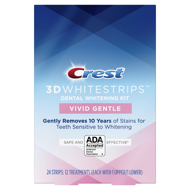 Crest 3d Whitestrips Vivid White Gentle Teeth Whitening Kit 24