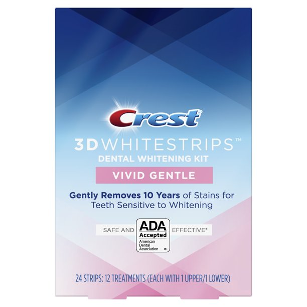 Crest 3d Whitestrips Vivid White Gentle Teeth Whitening Kit 24 Strips Walmart Com Walmart Com