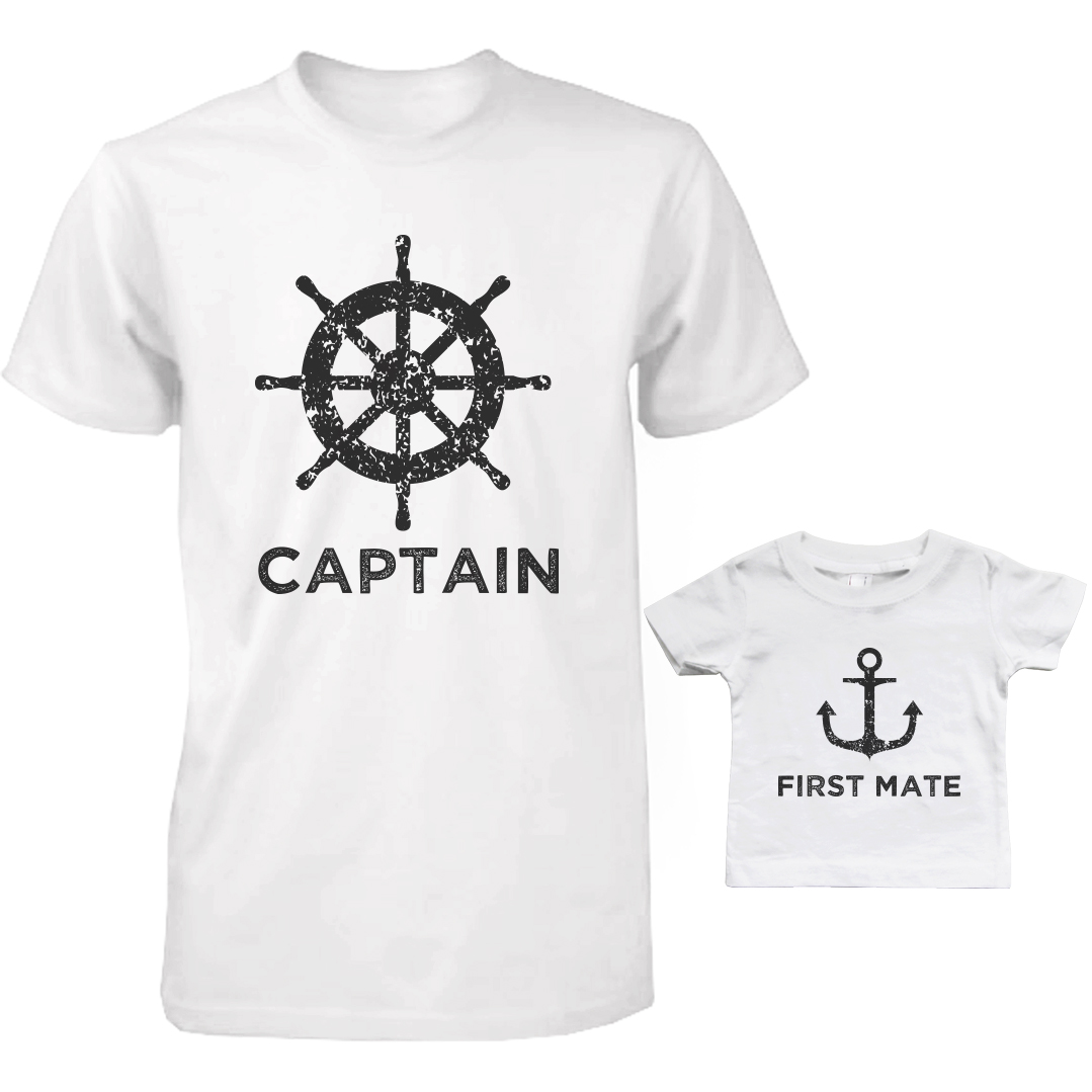 849295c8 365 Printing inc - Captain And First Mate Matching Shirts Father And Son  Outfits Father's Day Gift - Walmart.com
