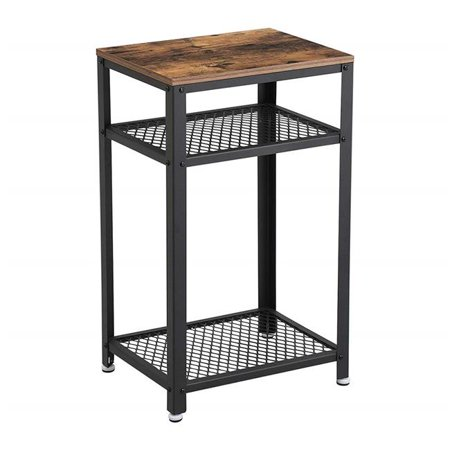 Benjara BM195880 Industrial Style Iron & Wood Side Table with Two Tier Mesh Shelves - Black & Brown - 17.7 x 13.8 x 29.5 in. Two Tiered Wood Table