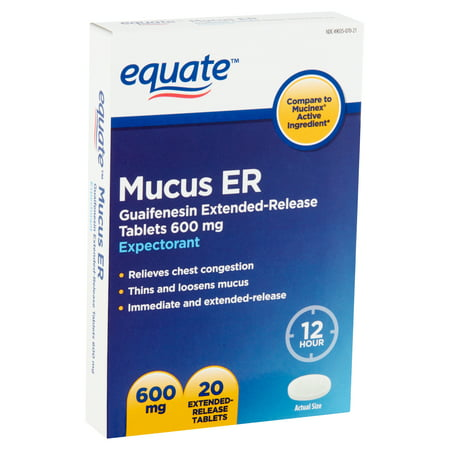 Equate Mucus ER Extended-Release Tablets, 600 mg, 20 (Best Medication For Mucus)