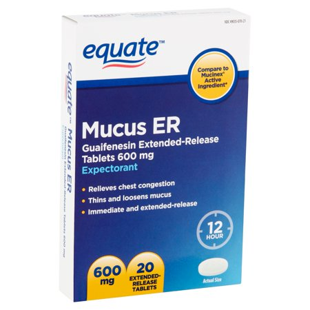 Equate Mucus ER Extended-Release Tablets, 600 mg, 20