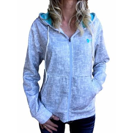 Women's New Under Armour White/Grey Print ColdGear Logo Loose Full Zip Hoodie S, M, L, XL ()