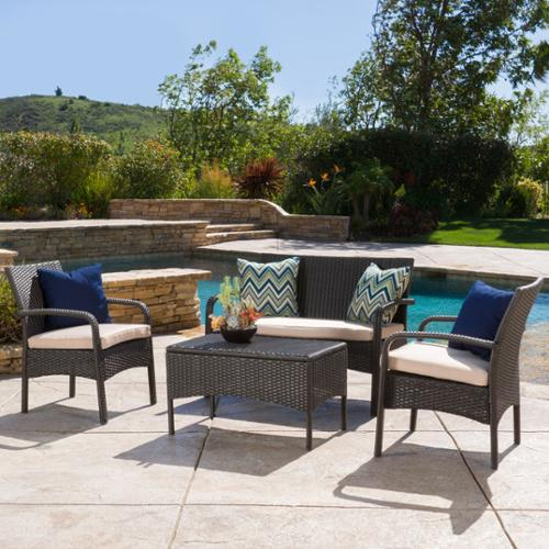 Denise Austin Home Kilburn Outdoor 4-Piece Brown Wicker Chat Set with Cushions by GDF Studio
