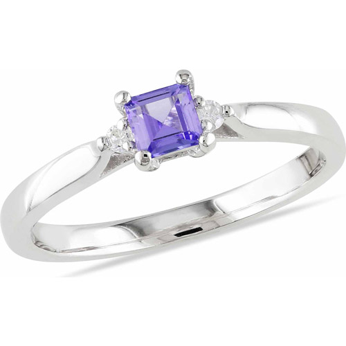 1/3 Carat T.G.W. Tanzanite and Diamond Accent Sterling Silver Ring