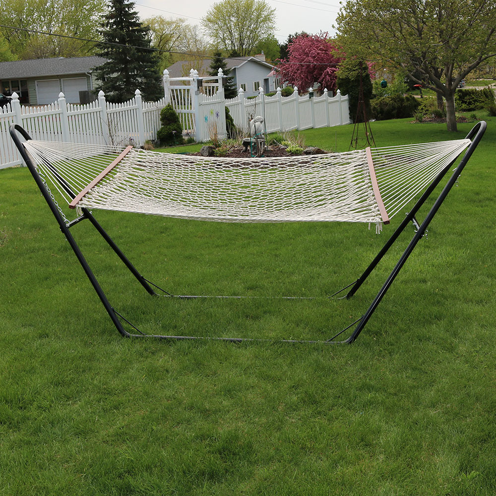 Medium image of sunnydaze cotton double wide 2 person rope hammock with spreader bars and multi use