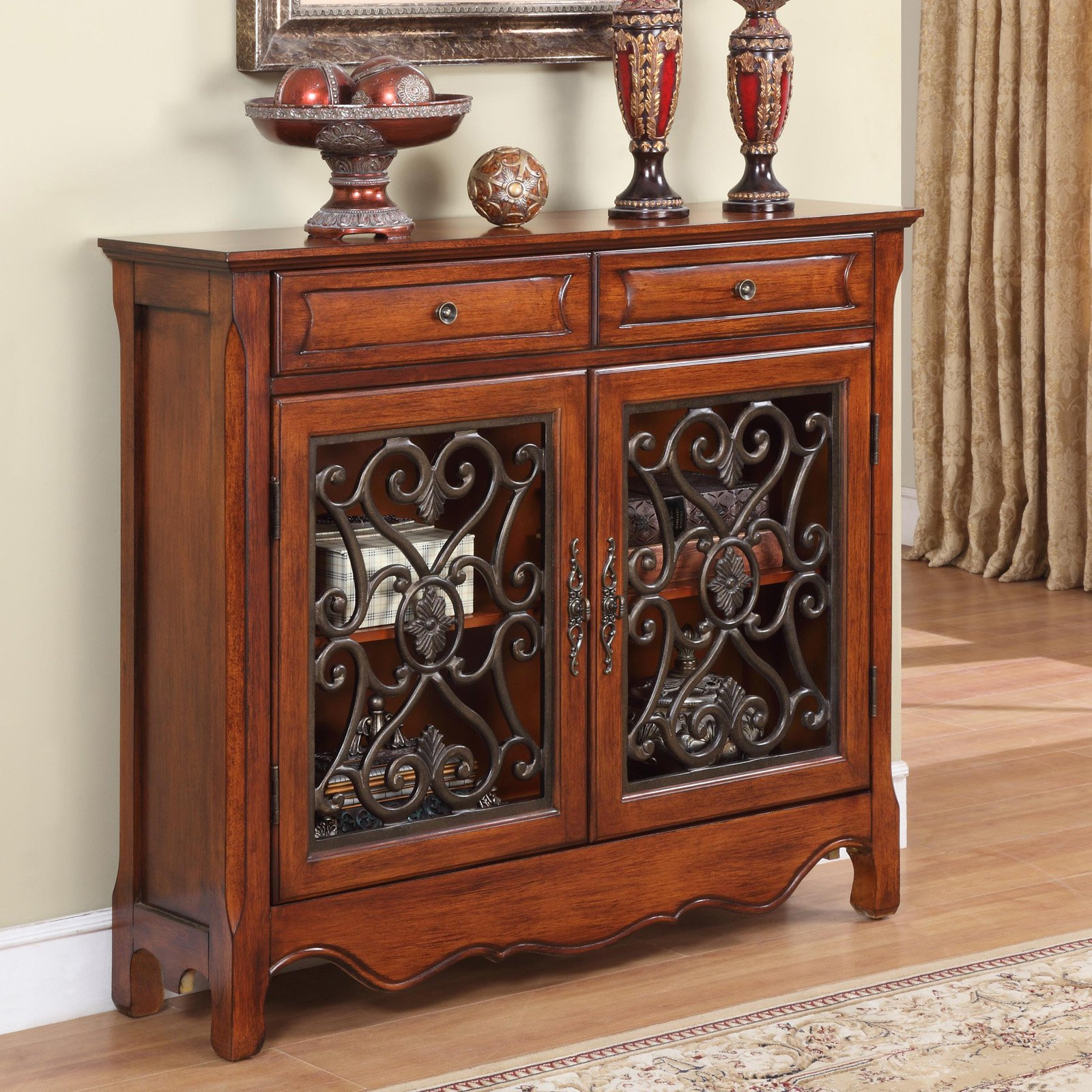 Powell 2 Door, 2 Drawer Scroll Console, Light Cherry by L. Powell