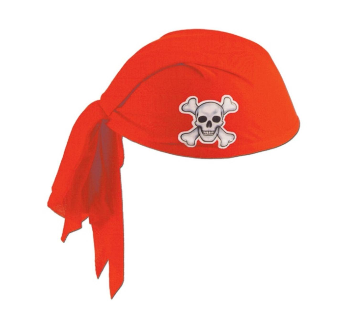 Club Pack of 12 Red Pirate Scarf Hats with Skull and Crossbones Child Size by Party Central