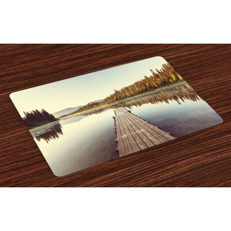 Fall Placemats Set of 4 Wooden Pier on the Lake Serene Morning in the Woods Fishing Misty Recreational Image, Washable Fabric Place Mats for Dining Room Kitchen Table Decor,Multicolor, by -