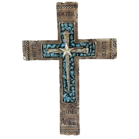 Pine Ridge Western Wall Cross Rustic Cowboy Praying Crucifix with Faith, Hope, Love and Home Turquoise Center with Nails & Star (Star Center)