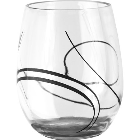 Corelle Coordinates Simple Lines, 16oz Acrylic Wine Glass Set of 4](Black Stem Wine Glass)