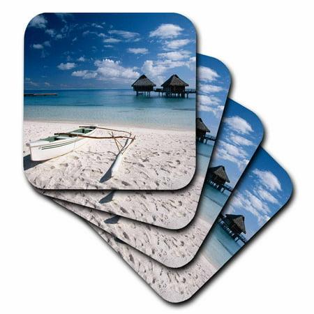 Bungalow 8 Halloween (3dRose French Polynesia, Bora Bora, Bungalows from beach Motu Toopua. , Soft Coasters, set of)