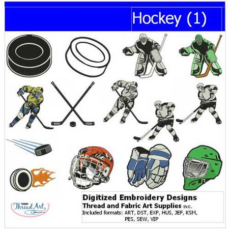 Threadart Machine Embroidery Designs Hockey(1) CD
