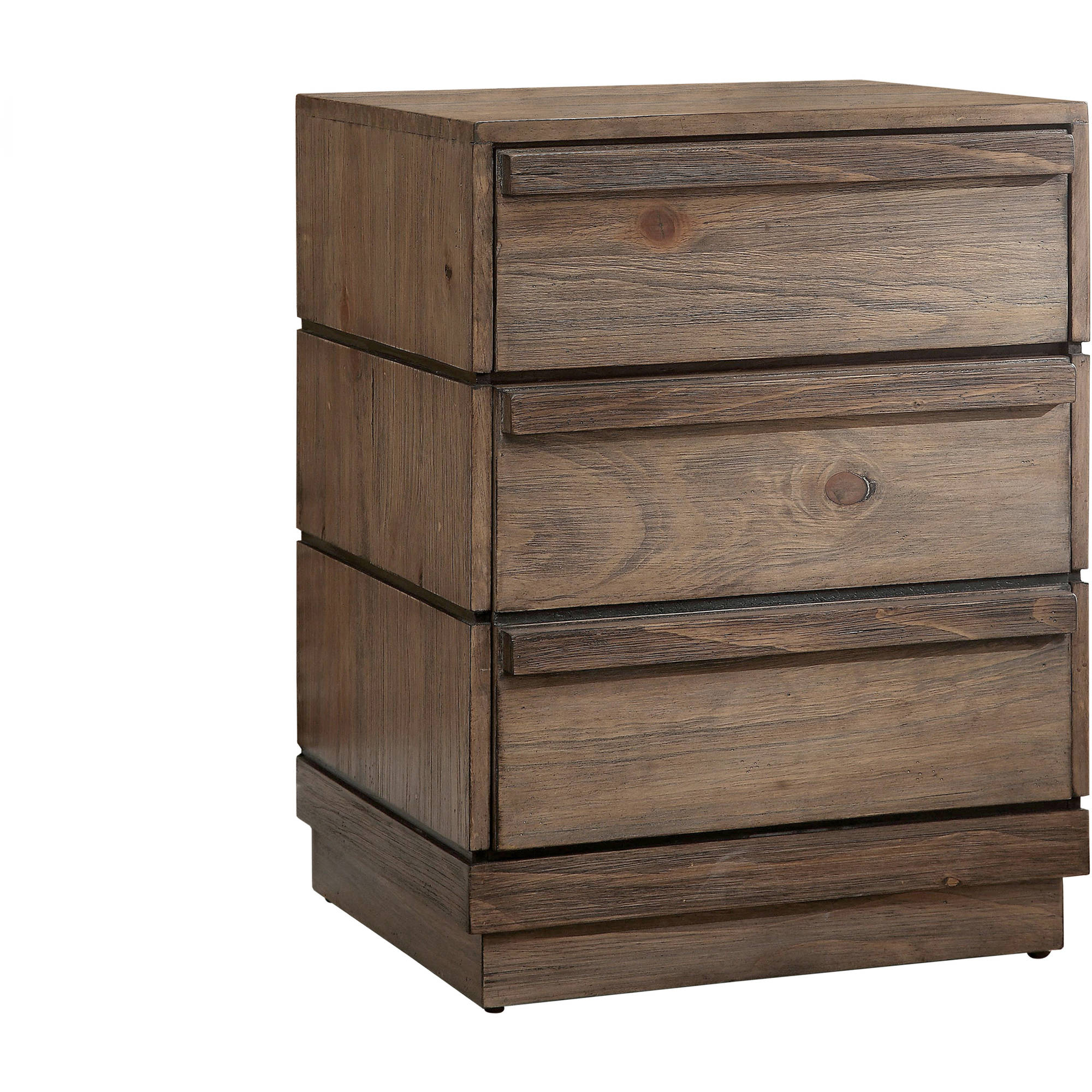 Furniture of America Dotson 3-Drawer Nightstand, Rustic Natural Tone