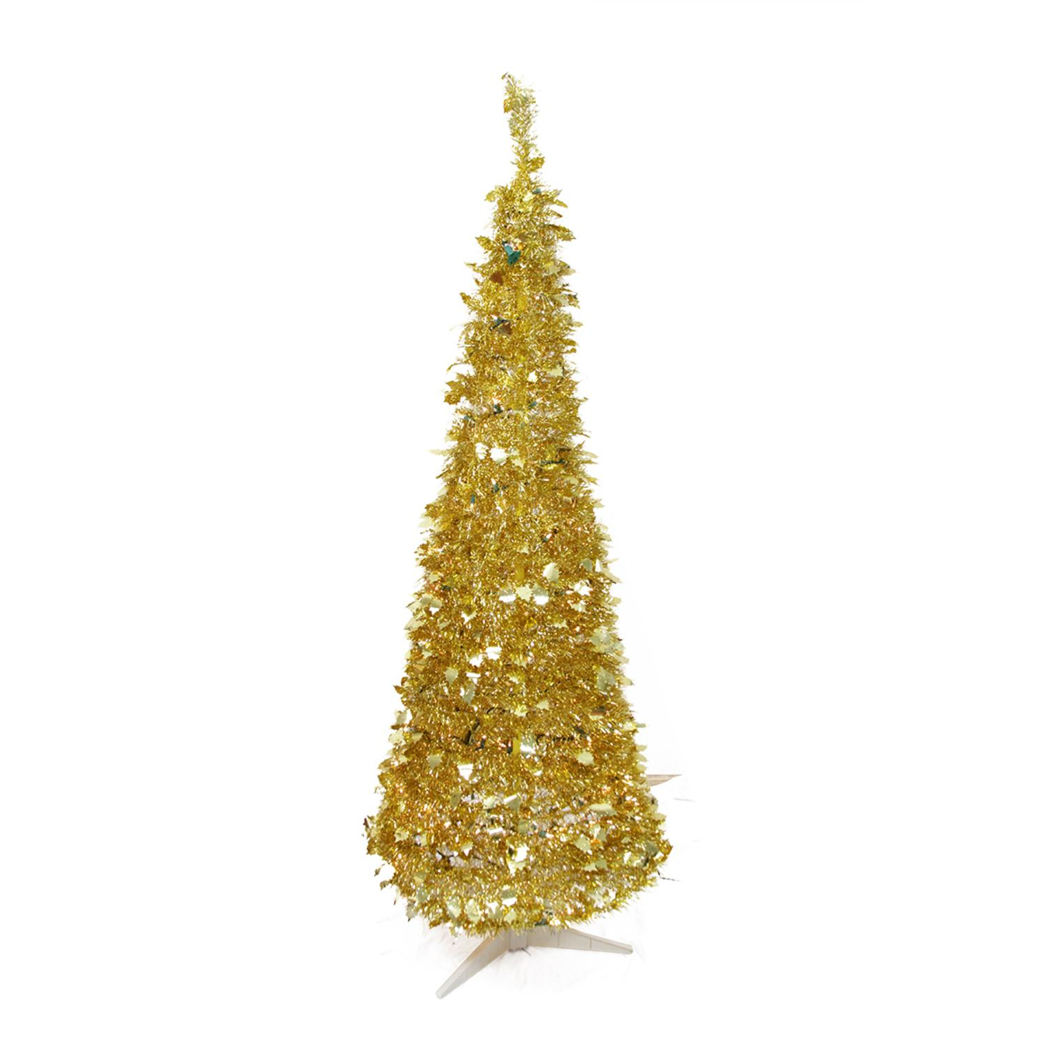 rich pacific 6 prelit artificial christmas tree gold colored tinsel clear lights walmartcom