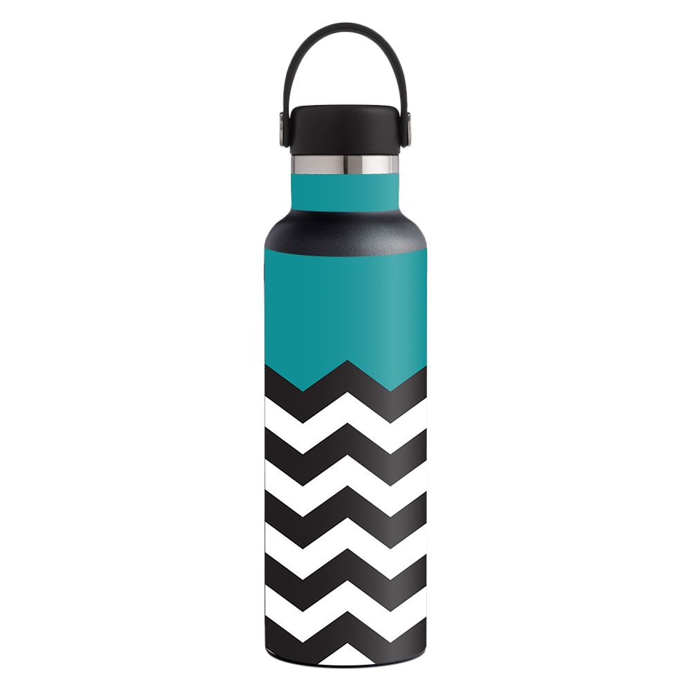 MightySkins Skin for Hydro Flask 21 oz. Standard Mouth - Aqua Chevron | Protective, Durable, and Unique Vinyl Decal wrap cover | Easy To Apply, Remove, and Change Styles | Made in the USA