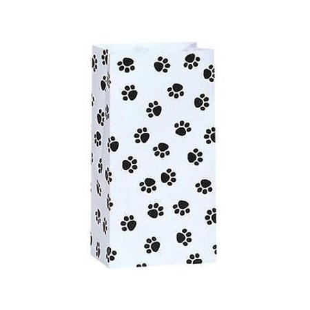 2 Unit 4lb Bag Paw Print Gift Sack 5x3-1/8x9-5/8
