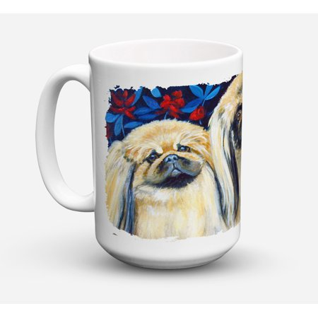 What a pair of Pekingese Dishwasher Safe Microwavable Ceramic Coffee Mug 15 ounce 7193CM15