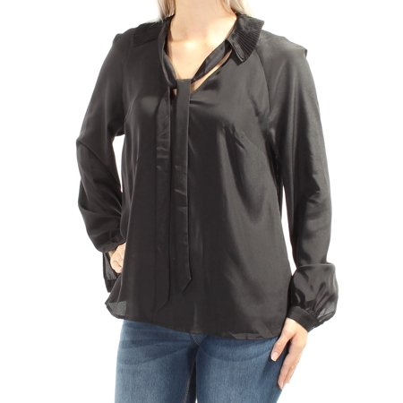 GUESS Womens Black Cuffed Tie Neck Top  Size: M