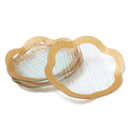 Party Appetizer (GAC Unique Designed 7.5 Inch Scalloped Tempered Glass Round Dessert Plates Set of 4 - Unbreakable - Chip Resistant - Oven/Microwave Safe - Dishwasher Safe, Party Plates Appetizer Plates)