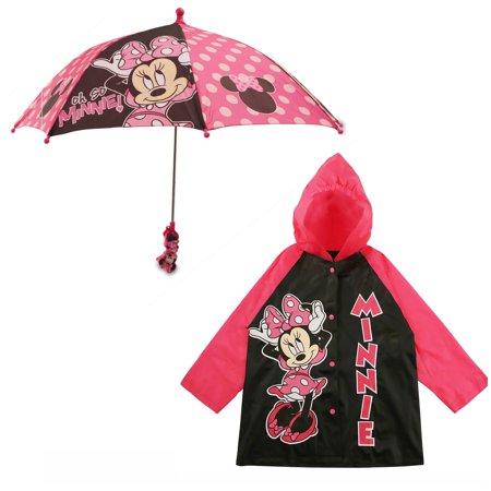 Disney Minnie Mouse Slicker and Umbrella Rainwear Set, Little Girls, Age 2-7 - Disney Girls