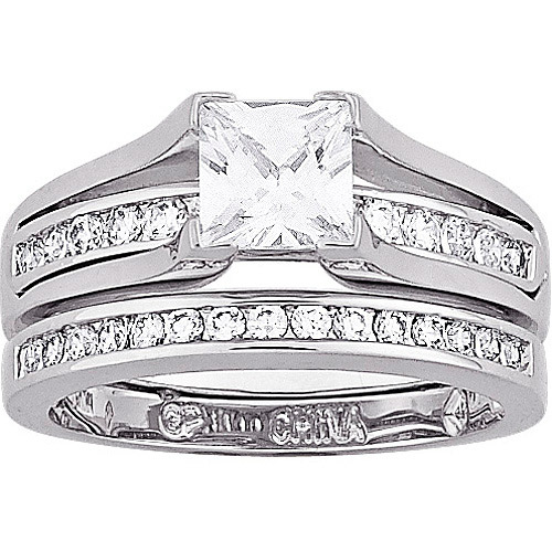 2.75 Carat T.G.W. Cubic Zirconia Silver tone 2 piece Wedding Ring Set