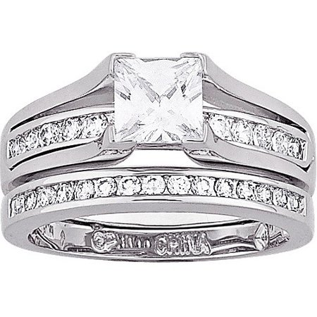 275 Carat TGW Cubic Zirconia Silver Tone 2 Piece Wedding Ring Set