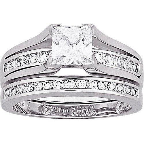 Walmart Wedding Rings.2 75 Carat T G W Cubic Zirconia Silver Tone 2 Piece Wedding Ring Set