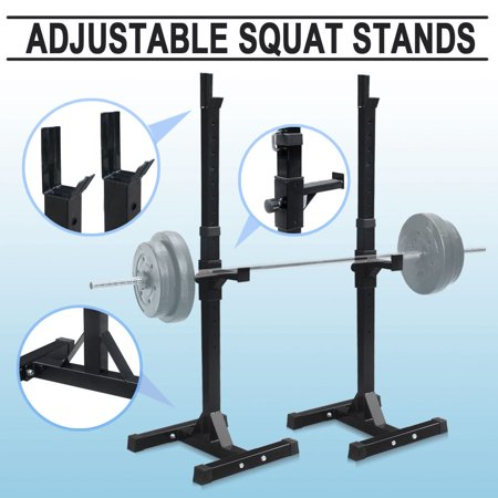 - Zeny Pair of Adjustable Barbell Rack Stand Squat Bench Press Home GYM Weight Liftting Fitness Exercise