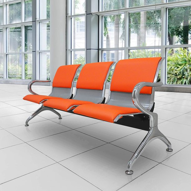 Airport Reception Chairs Waiting Room Chair With Orange Leather Cushion Lobby Chairs For Reception Room Office 3 Seat Reception Bench Orange Walmart Com Walmart Com