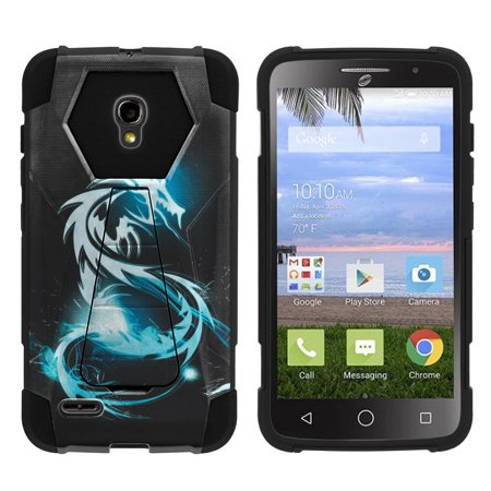 Alcatel One Touch Pop Icon 2 A846L Shock Fusion Heavy Duty Dual Layer Kickstand Case -  White Dragon