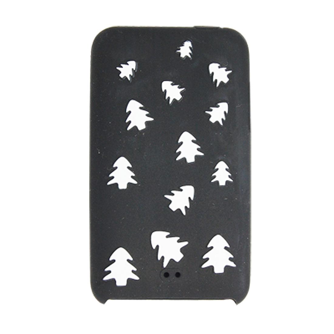 Unique Bargains Black Silicone Skin Case w White Tree for iPod Touch 2
