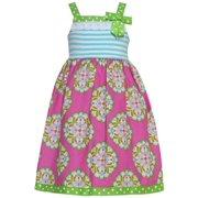 Little Girls Fuchsia Art Deco Dot Print Bow Lace Trim Dress 4