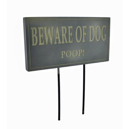 Funny Beware of Dog Poop Lawn/Garden Stake Sign Post Slate
