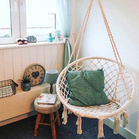 Hammock Chair Macrame Swing Hanging Rope Chair Cotton Fabric For