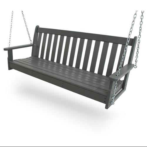 "60.5"" Earth-Friendly Recycled Outdoor Patio Garden Chain Swing - Slate Gray"