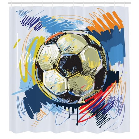 Soccer Shower Curtain Spherical Ball Illustration With Colorful Distressed Details In Motion Art Fabric Bathroom Set Hooks Multicolor