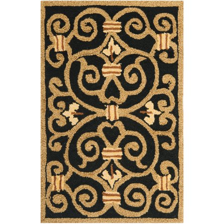Safavieh Chelsea Aragon Geometric Borders Area Rug or Runner (Black And Gold Border)