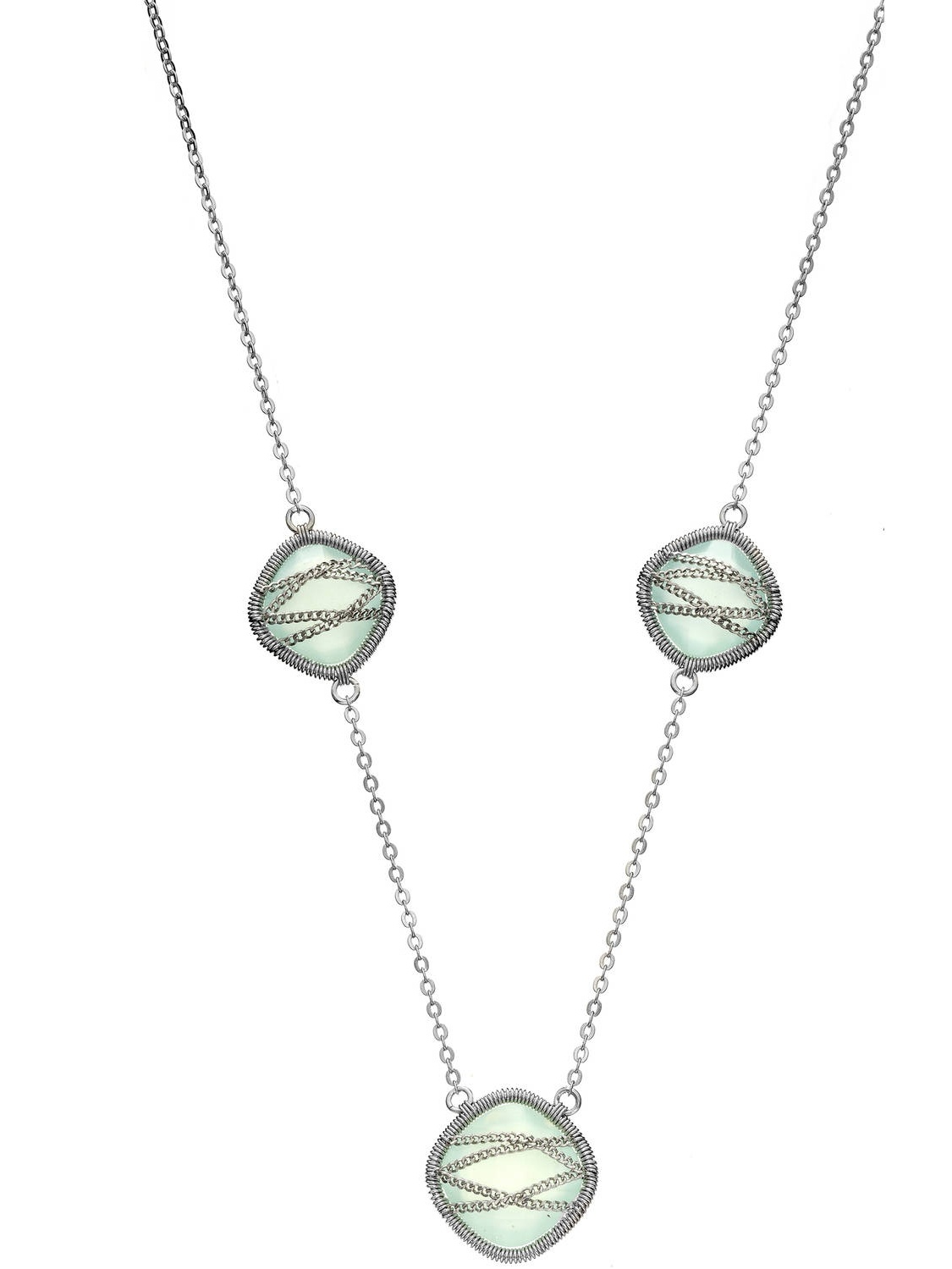 5th & Main Sterling Silver Hand-Wrapped Triple-Squared Chalcedony Stone Necklace by Generic